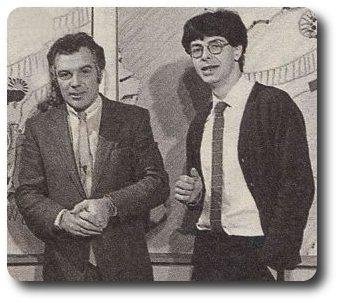 Michel Chevalet en compagnie de Denis Vincenti sur le plateau de Météo Première en 1983
